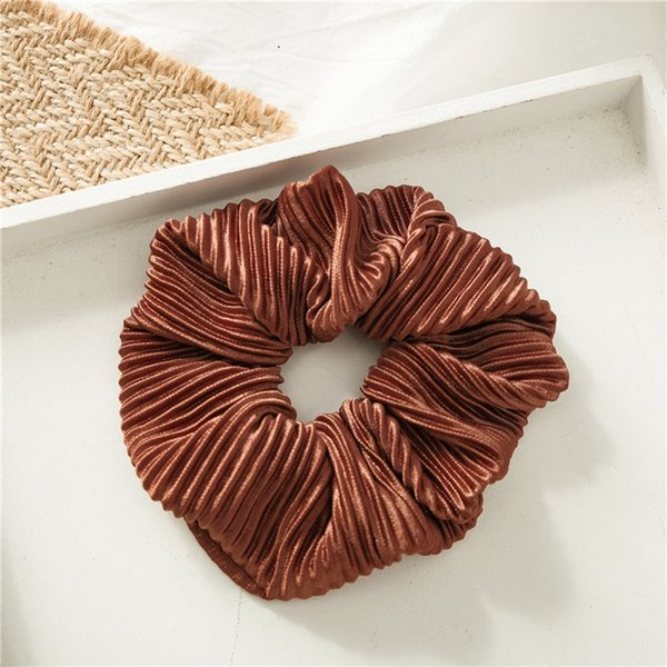 Solid Color Wrinkle Brown Satin Crease Solid Color Large Intestine Circle Head Ring Hair Accessories Simple Style 9 Color Choice