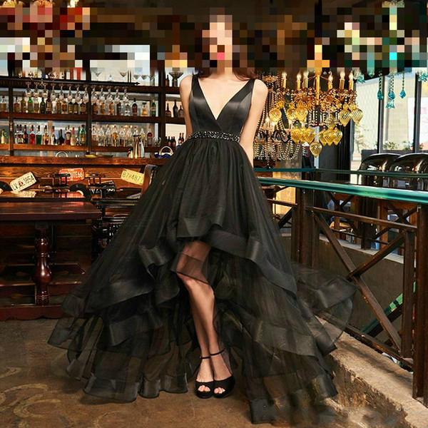 Elegant Designer Black Evening Prom Dresses Long Arabic Formal Gowns A-Line V Neck Red Carpet Celebrity vestidos de fiesta Robe Dress China