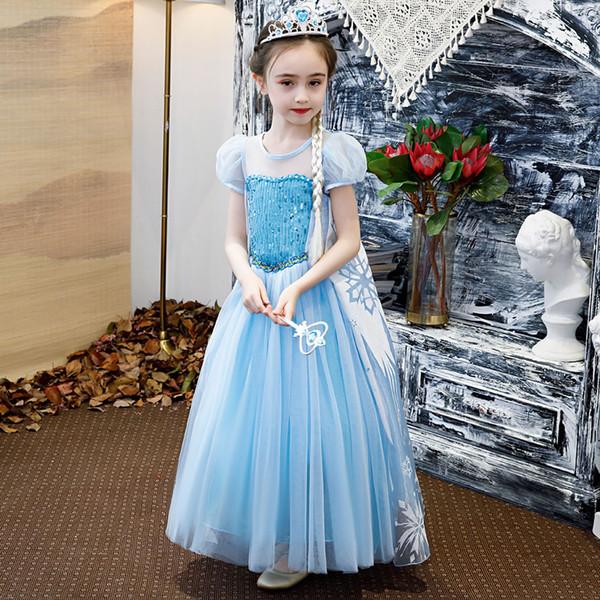 Elza Princess Dresses For Girl Costume Cosplay Halloween Kid Travestimento Cerimonia Festa nuziale Frock Bambini Damigella d'onore Tunica da sera
