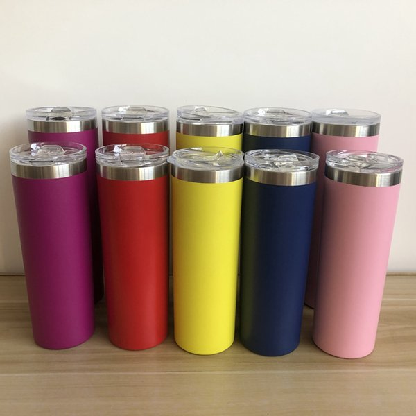 top popular 20oz 30oz Straight Cup Skinny Tumbler 10 Colors Double Wall Stainless Steel Vacuum Insulated Straight Mugs Kids Cup OOA7259-5 2021