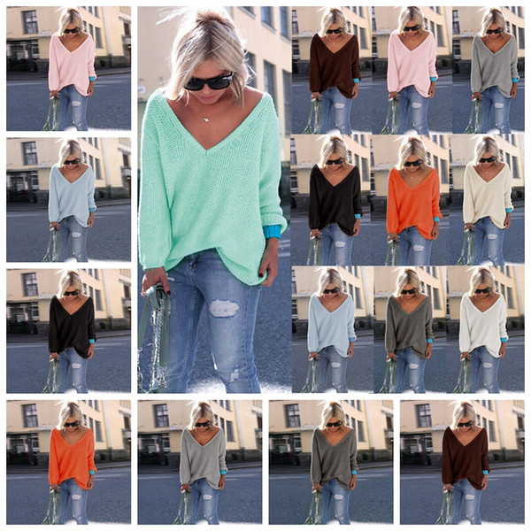 103e5a90de01 Autumn winter fashion solid color long sleeves V-neck loose sweater white  pink green black