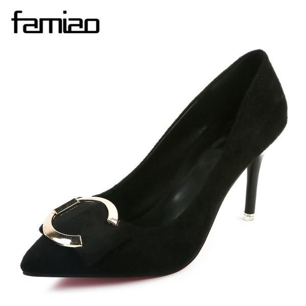 Dress Shoes FIMIAO women pumps metal decoration high heel balck gray office party chaussure femme talon 2019 flock ladies brand pumps
