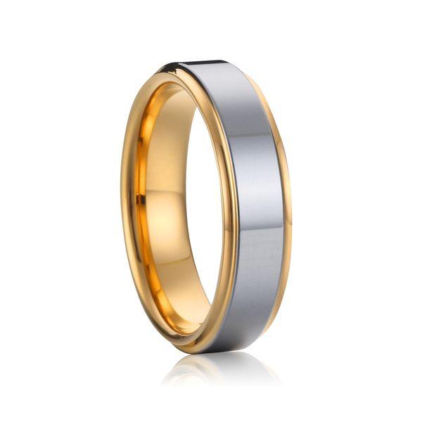 Alianzas clásicas anillo de bodas anillo de tungsteno puro para hombres y mujeres color oro 6 mm amor pareja anillo de joyería