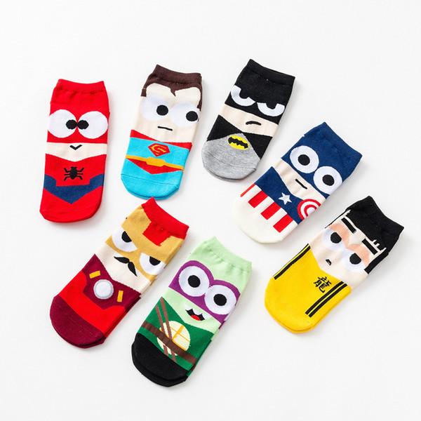 Erkek kadın tasarımcı marka çorap çorap Süper Kahraman Karikatür Düşük erkek Gelgit Çorap Pamuk Superman Spiderman mutlu ekip gcds Karikatür