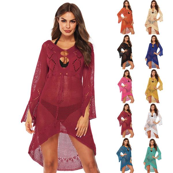 Women Crochet Tunic Beach Dress Wear Bikini Cover Up 2019 Summer Long Bell Sleeve Beachwear V-Neck Dresses Neon White Cover-ups