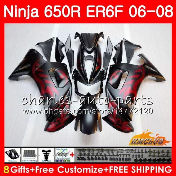 Corpo per KAWASAKI NINJA 650R ER6 F 650 R ER6F 06 07 08 Cowling 29HC.0 Ninja650R ER-6F 06 08 ER 6F 2006 2007 2008 Kit carenatura Rosso opaco nero