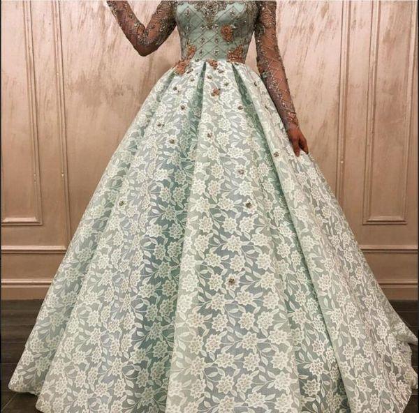 Evening dress Yousef aljasmi Labourjoisie Zuhair murad Ball Gown High Collar Long Sleeve Lace Lace Beading Long Dress James_paul