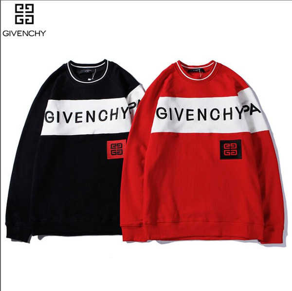 yaadf6 / Blusas de designer preto para homens moda carta de manga longa bordado casal blusas outono blusas de pulôver solto para as mulheres frete grátis