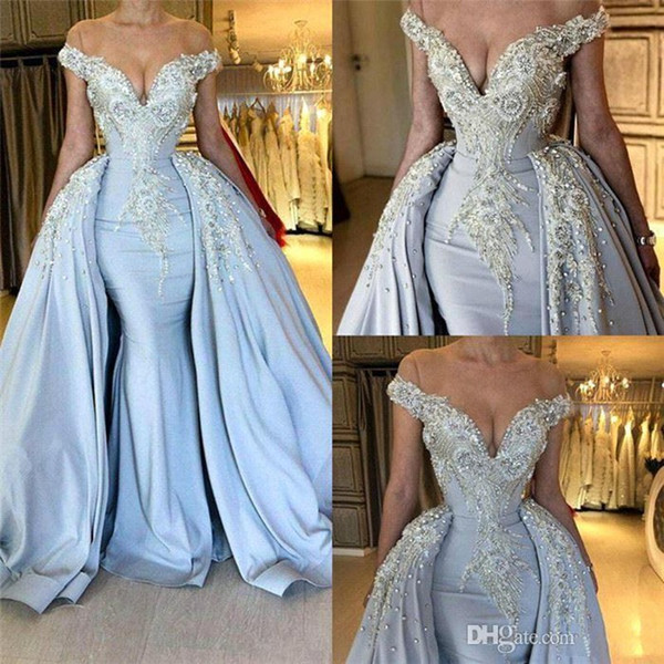 Sexy Light Sky Blue Mermaid Prom Dresses with Long Train Beadings Crystals Sequined Off Shoulder Evening Gowns Special Occasion for Women