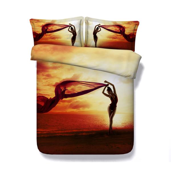 Beach Sunset bedspread fire Duvet Cover Set Ocean red Bedspread Sea Bed Set 3D Comforter Cover Yellow Orange Coverlet Bed Cover No Filler