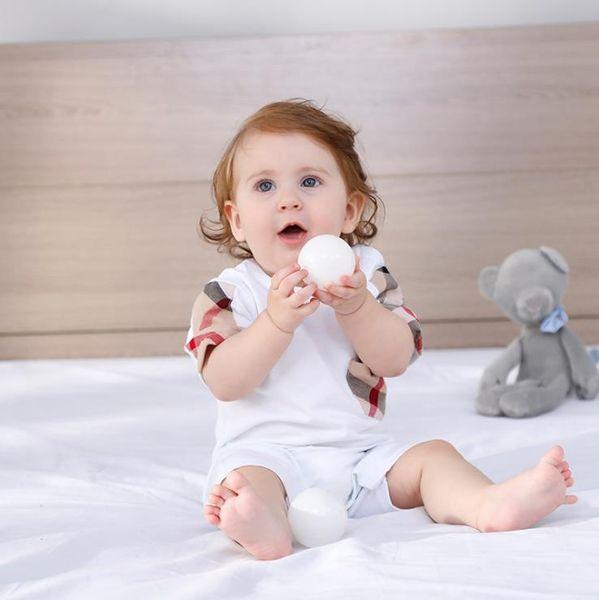 kids  clothes girls boys Short Sleeve Plaid romper 100% cotton children jumpsuits Infant clothing baby infant clothes 3 color