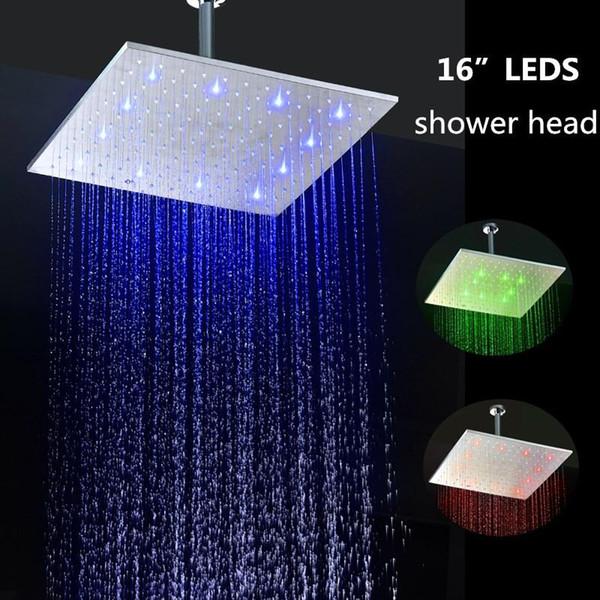 Duş Aksesuarları su gücü renk değişimi 400 * 400mm kare led banyo duş başlığı 20180927 #