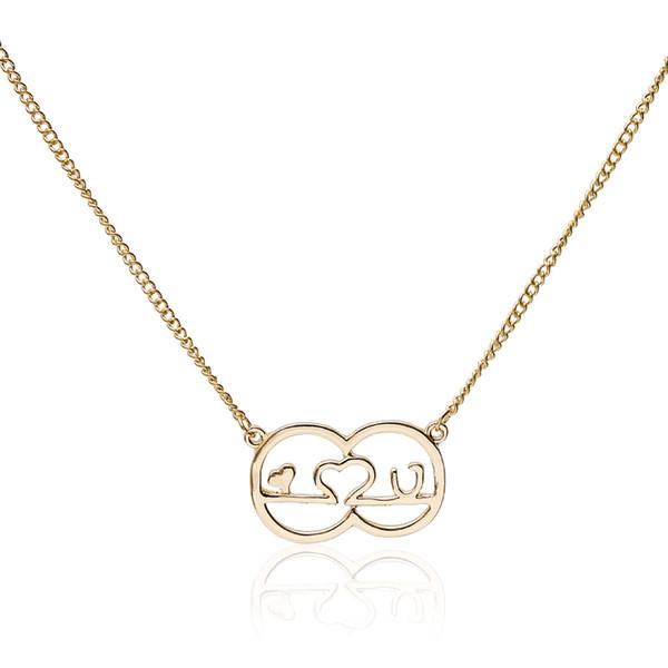 Wholesale New Gold Color Heart Shaped LOVE Pendant Necklace Symbolizes Love  Zinc Alloy Female Couple Valentine'S Day Gift Necklace Silver Pendant