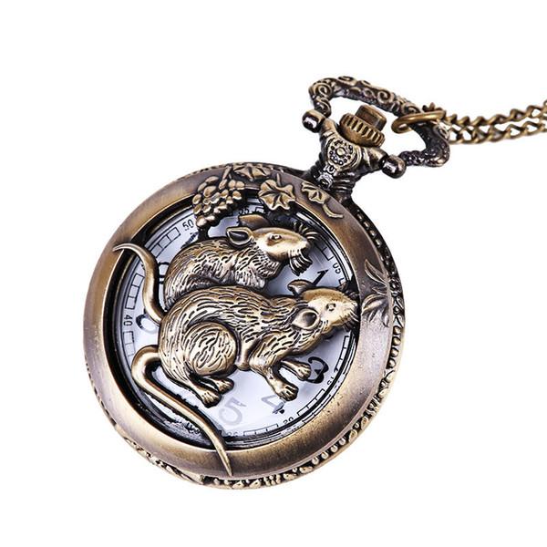 Unisex Full Metal Alchemist Necklace Antique Watch Quartz Watch Copper