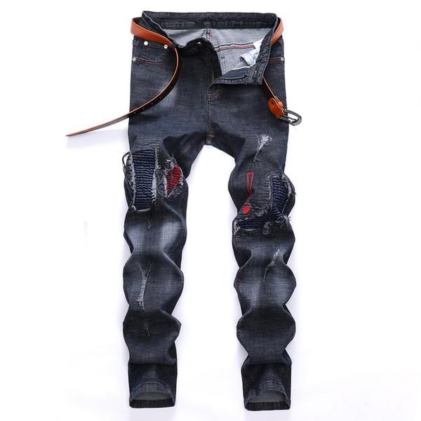 2019 Sonbahar ve Kış Yeni Jeans Erkek Delik Motosiklet Pantolon Avrupa ve Amerika Birleşik Devletleri Trend Erkek Jeans Kot Pantolon Erkek