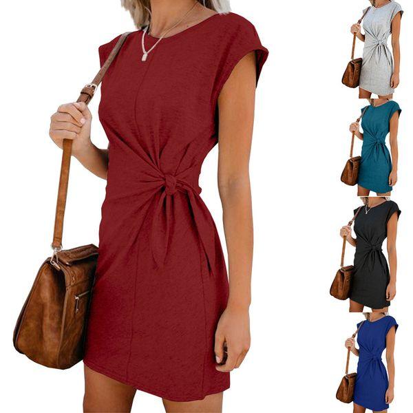 Children of Wish Cross-border Explosive Dresses, European and American Women's Round Necks, Short Sleeve Skirts with Loose Bandwidth