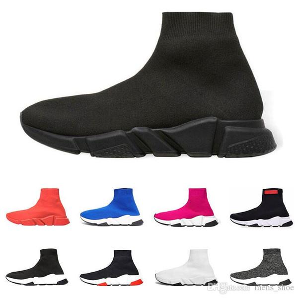 2019 chaussettes de designer chaussures formateurs de vitesse hommes femmes mode Sneakers noir blanc coureur plat glisser sur toile chaussure taille 36-45