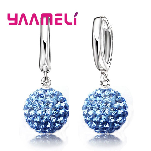 YAAMELI Hot Sale Multicolors One Pair 925 Sterling Silver Austrian Crystal Pave Disco Ball Hoop Lever back Earring Women Jewelry
