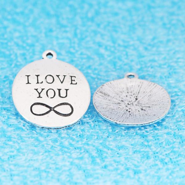20 pcs 25mm eu te amo infinito encantos jóias diy liga acessórios de peças penduradas pingentes