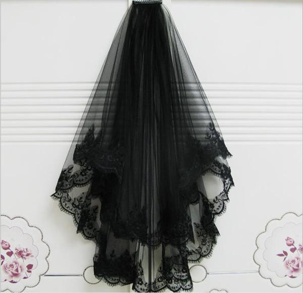 élégant Modest Applique bordure en dentelle de mariage Veils 2 couches courtes Tulle Noir Bridal Veils 2020 Meilleures ventes