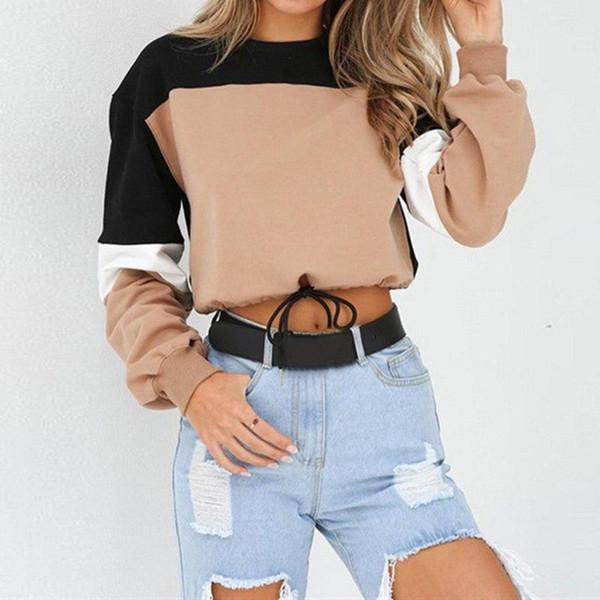 Sonbahar Sıcak Kadınlar Hoodies Uzun Kollu Gevşek Kırpma Üst Kazak Rahat Patchwork O Boyun Elastik Bel Kazaklar Streetwear