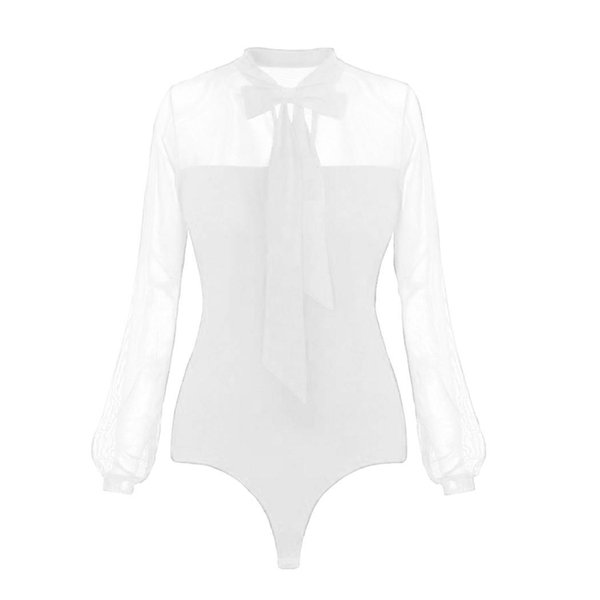 New Fashion Women Casual Bow Tie Regular Lantern Sleeve, Mesh Stand Collar Casual, Party See Through Bodysuit