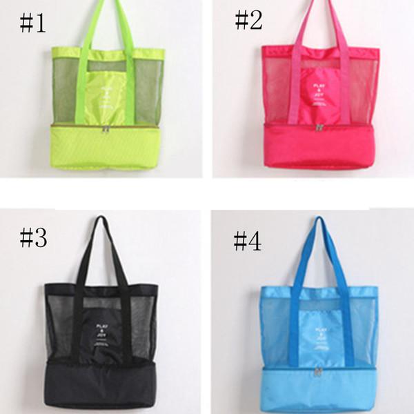 Double Picnic Bags Large Capacity Women Shoulder Bag Mesh Beach Organizer Travel Storage Package Handbag ZZA347