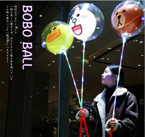2019 LED Balloon Cartoon Handle Style Night Light Up Balloons Valentine's Day Wedding Party Transparent Toys Kids Balloon Party Decoration