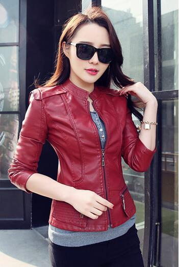 2019 Women PU Leather Jackets Female Zippers Coat spring Autumn Short Outwear spring Autumn Short Outwear Female motorcycle coat