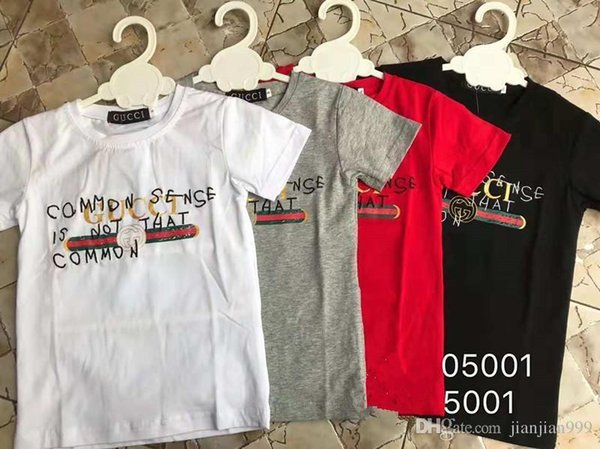 Modelle Kinderbekleidung Junge Rundhals Kurzarm Brief Baumwolle T-Shirt High-End Sommer Brief Druck 05001 #
