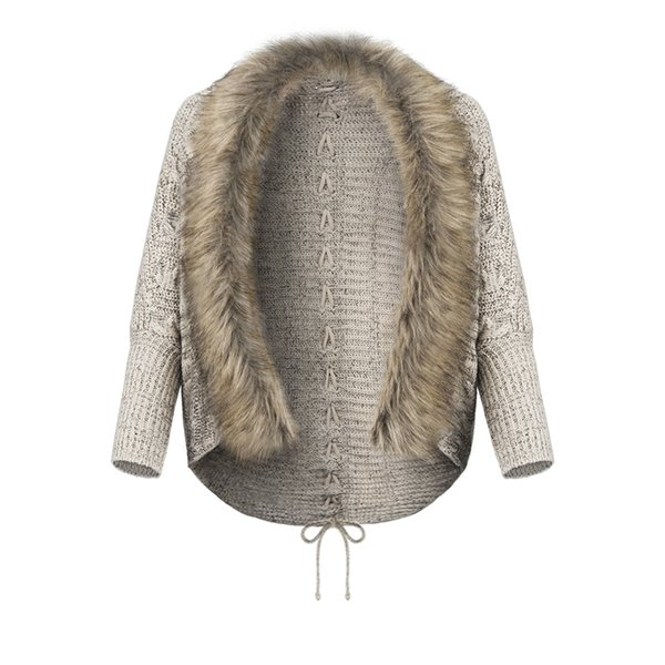 Women Coat Sweater Knit Fur Collar Thicken Shawl Batwing Sleeve Cardigan