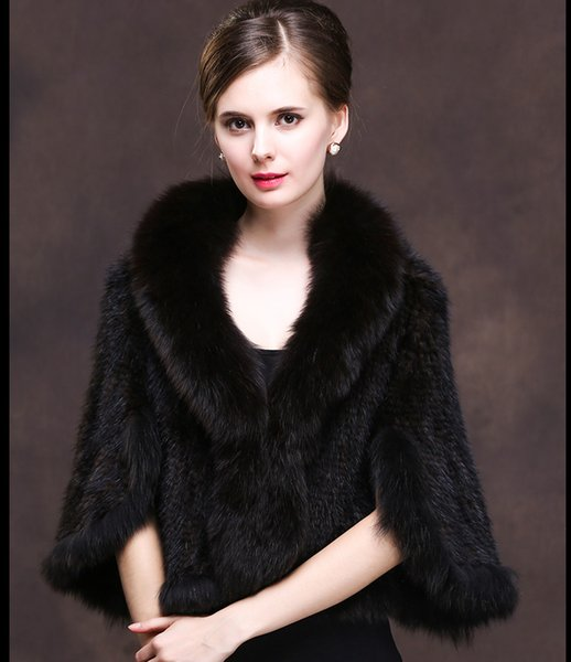 lady women knitted real mink fur shawl with genuine fox fur trimming classic elegamt knitting party cape black color