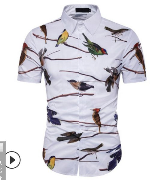 19 New type Men's Clothes Short-sleeved Shirts 3D Printing Flying Birds polos Hair Stylist tees Leisure Nightclub 2 colour large size M-3XL