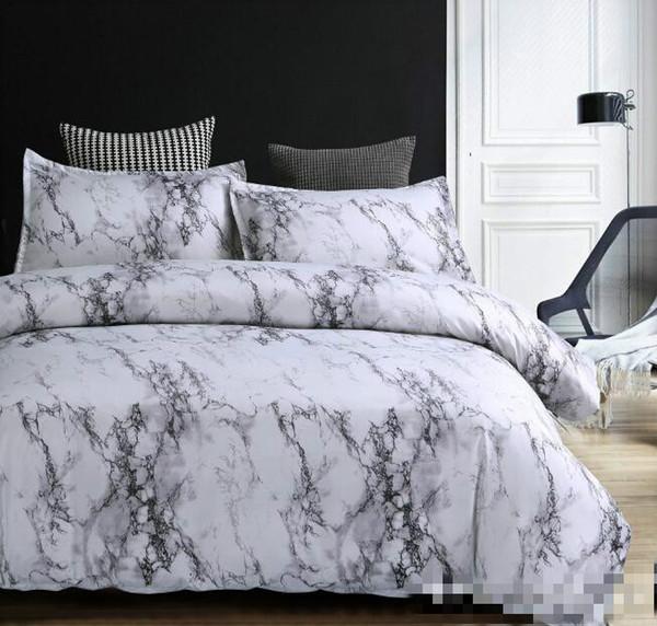 Set di biancheria da letto in marmo Set copripiumino Set da 2/3 pezzi Copripiumino matrimoniale matrimoniale Queen Biancheria da letto (nessun foglio senza riempimento)