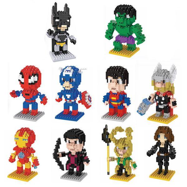 Figure Building Block 10Styles LNO Avengers Superhero Mini Hulk Spiderman DIY Small Particle Diamond Building Blocks Kids Educational Toys