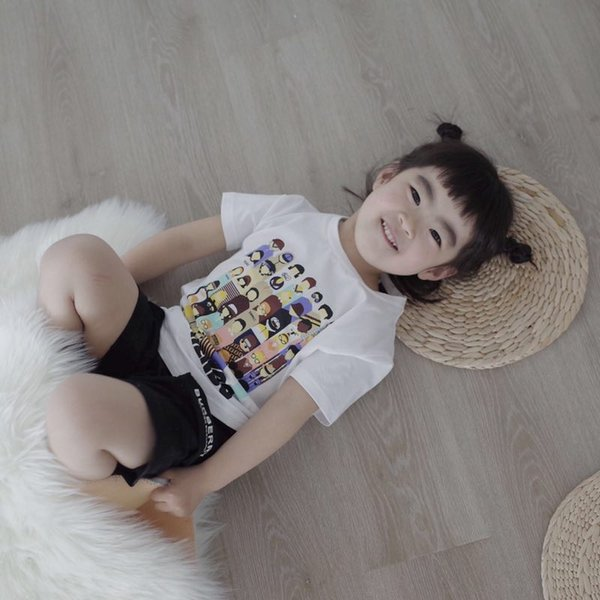 Kids Girl Cotton Letter T-shirts Fashion Casual Printed Jumper tops 2019 Summer Children white tees clothes