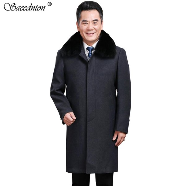 Woolen Coat For Men 2019 Winter Middle-aged Father Fur Collar Business Casual Long Wool Jackets Plus Velvet Thick Warm Overcoat