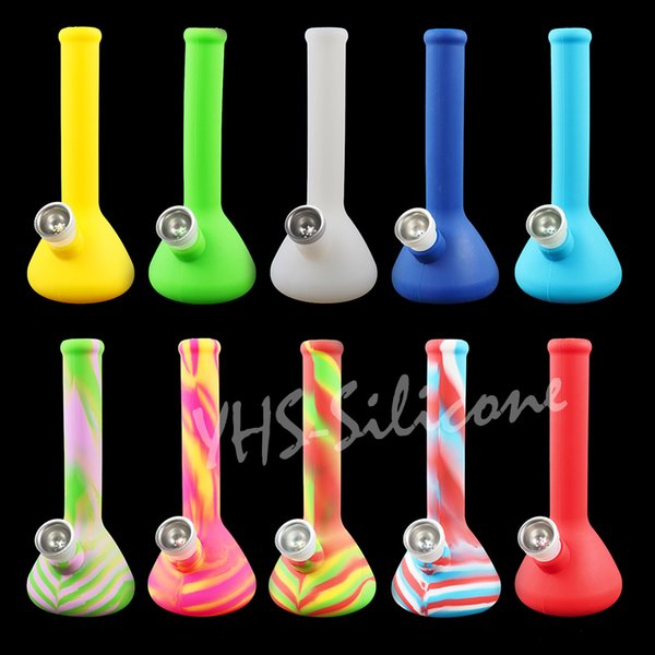 7.5'' beaker base water pipes hot selling multiple colors glass bongs for smoking with removable silicone downstem and glass bowl