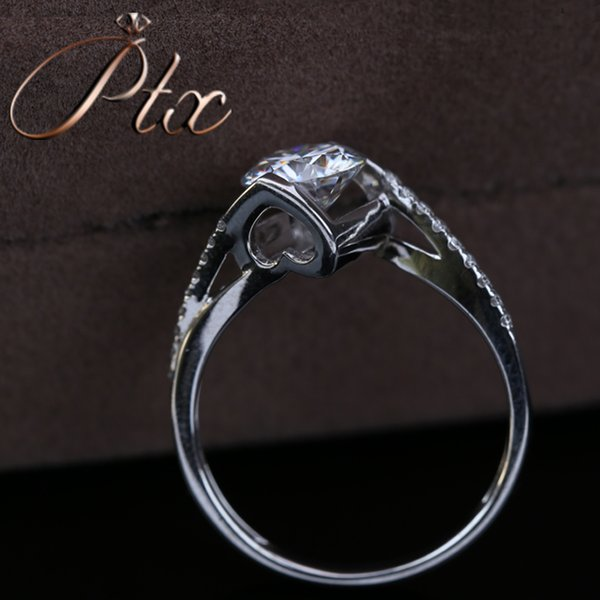 new 2019 vvs clarity synthetic moissanite DEF White color diamond 18k white gold ring for engagement wedding ceremony