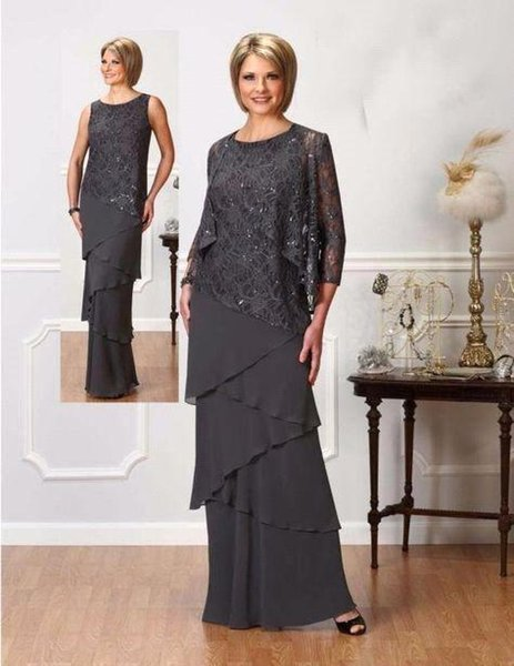 Dark Grey Elegant Mother Of The Bride Suits Sparkly Sequins Sheath Chiffon Tiered Skirts With Jacket for Weddings Mothers Dress