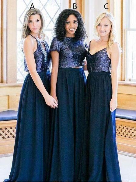 Feito Sob Encomenda Dama De Honra Vestidos Azul Escuro Lantejoulas Manga Curta Com Decote Em V Vestido de Dama de honra Longo Convidado Do Casamento Vestido robes de demoiselle d'hon