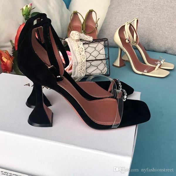 Mükemmel Resmi Kaliteli Amina Sandalet 105mm Yüksek Topuk Kadın Yeni Realse Moda Muaddi Hakiki Deri Kristal süslenmiş Ayakkabı