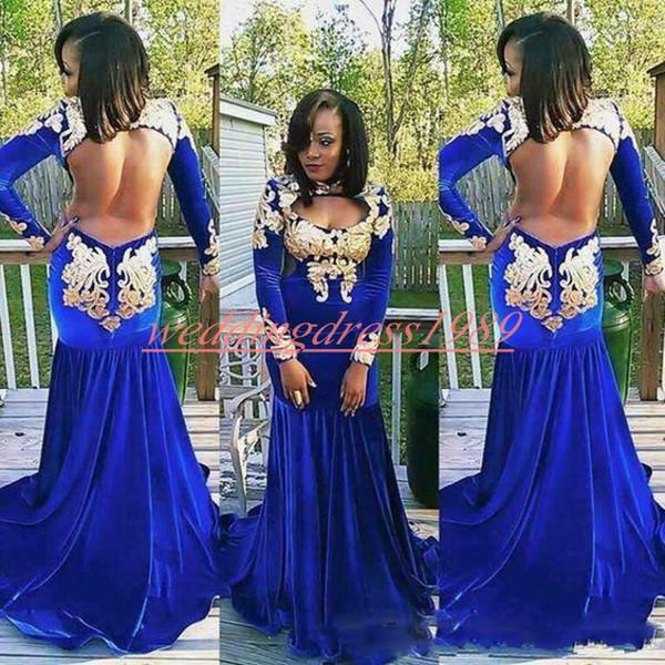Trendy Velvet Backless Mermaid Prom Dresses Gold Long Sleeve Plus Size Robe De Soire Black Girl Evening Dresses Party African Formal Gowns