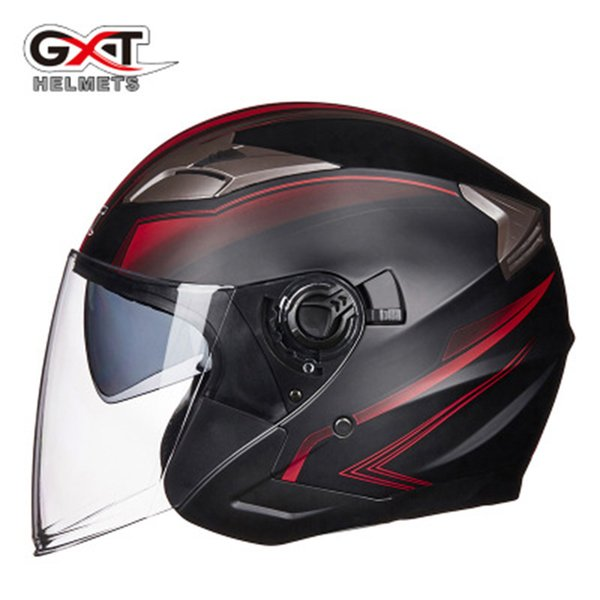 summer new gxt double lens motorcycle helmets half face abs motorbike helmet electric safety helmet for women/men moto casque - from $48.35
