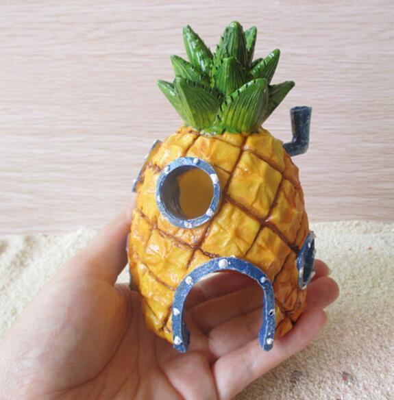 Укрытие хип-хоп дом украсить ананас голова дома аквариум озеленение рыбы креветки крабы милый орнамент выпечки инструменты Ван