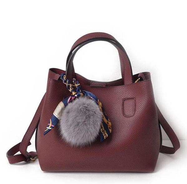 Female bag autumn and winter models wool ball scarf bucket mother Ms. Messenger bag shoulder bag