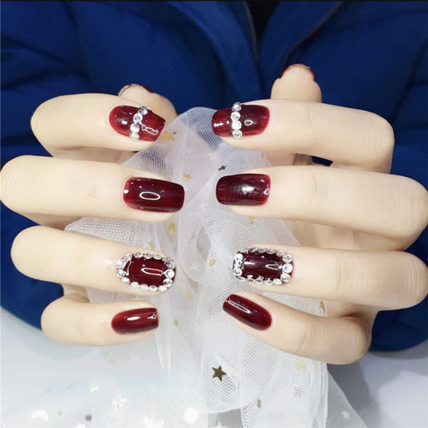 mariée vin rouge Colle Faux ongles Conseils autocollant strass Faux Nai PARFAITEMENT carré long presse sur faux ongles décoration bricolage