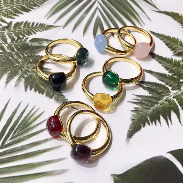 Hot Sale Fashion Lady Brass Candy Color Crystal Gemstone 18k Gold Plated Engagement Wedding Rings Three Color Size 6-8