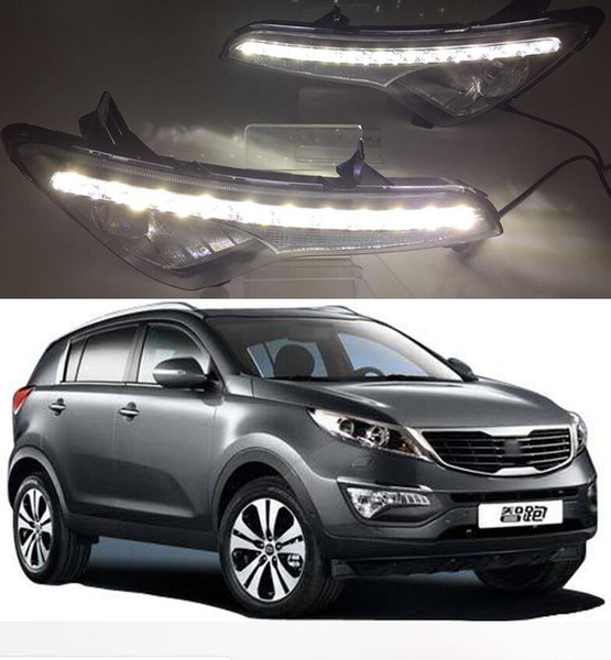 2Pcs DRL For Kia Sportage 2010 2011 2012 2013 2014 Daytime Running Lights SPORTAGE R Fog head Lamp cover