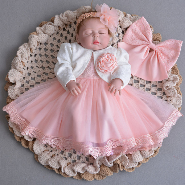 Baby Girls Lace Party Princess christening dresses With Flower Cardigan Headband Christmas Toddler Pageant Prom Wedding baptism dresses